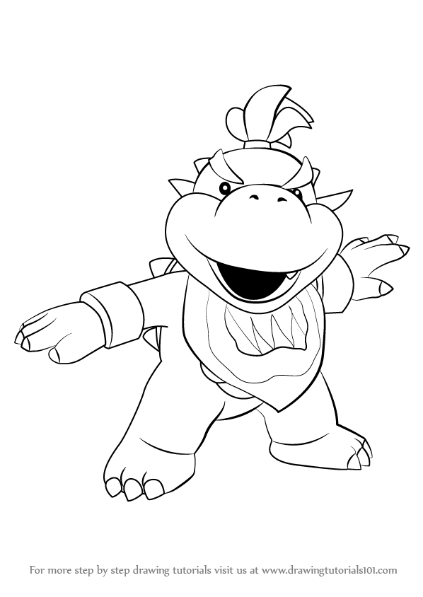 Learn How To Draw Bowser Jr From Super Mario Super Mario Step By Step Drawing Tutorials