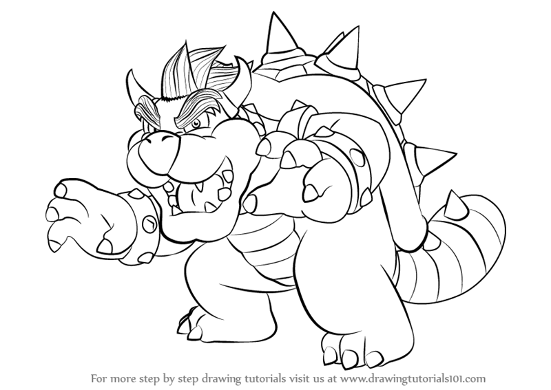Learn How To Draw Bowser From Super Mario Super Mario Step By Step Drawing Tutorials