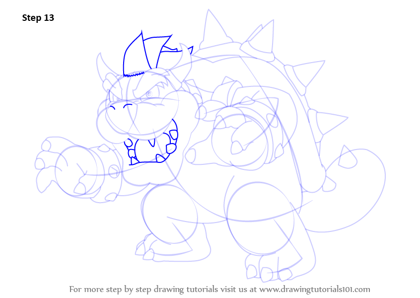 how to draw dry bowser step by step