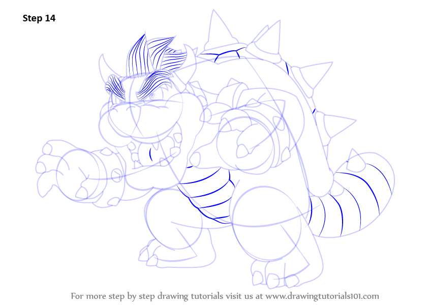 step by step how to draw bowser from super mario