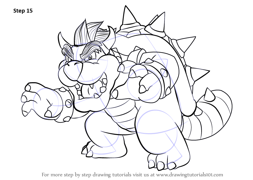 learn how to draw bowser from super mario  super mario