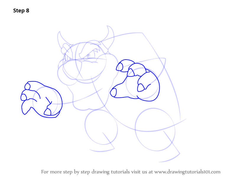 Learn How To Draw Bowser From Super Mario Super Mario Step