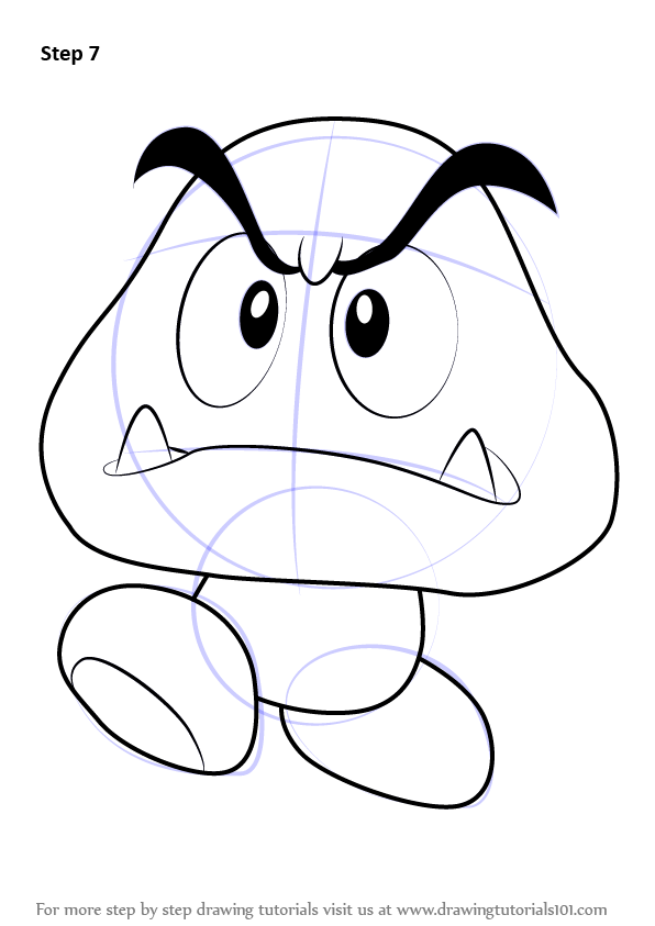 Step by Step How to Draw Goomba