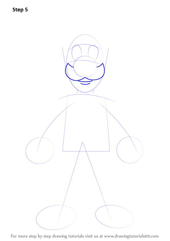 step by step how to draw luigi from super mario