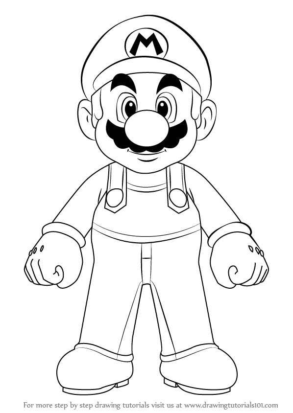 How To Draw Mario Characters Step By Step For Kids ... Draw Mario from Su...