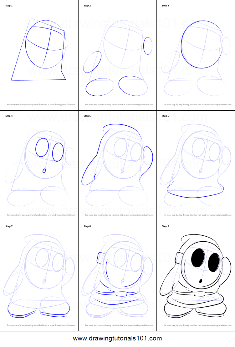 How to draw shy guy from super mario printable step by for Shy guy coloring pages