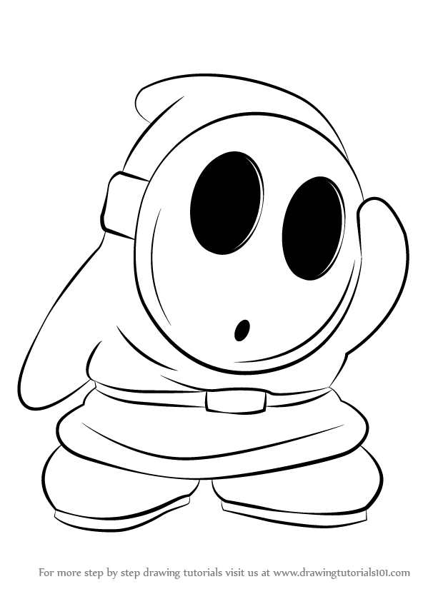 Step by step drawing tutorial on how to draw shy guy from super mario