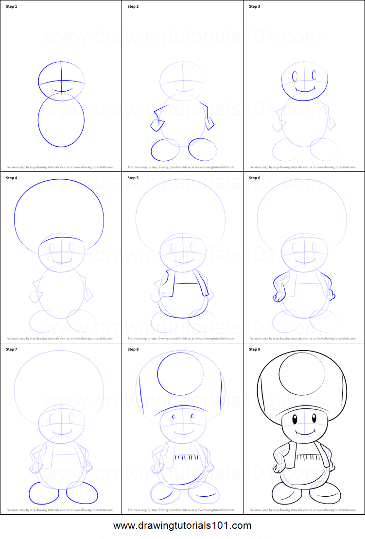 How To Draw Mario Characters Step By Step For Kids How to Draw Toad from ...