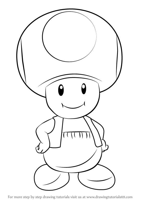 Learn How To Draw Toad From Super Mario Super Mario Step By Step