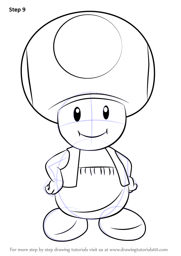 Step By Step How To Draw Toad From Super Mario