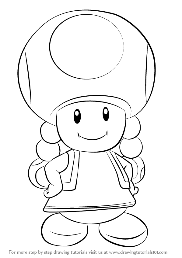 Learn how to draw toadette from super mario super mario for Toad and toadette coloring pages