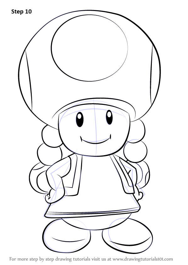 Step by Step How to Draw Toadette