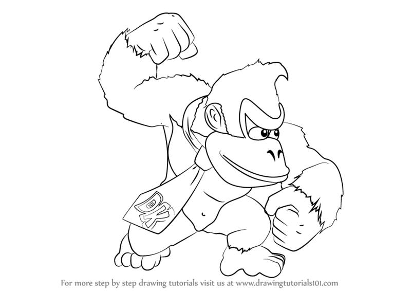 how to draw Donkey Kong from Super Smash Bros step 0