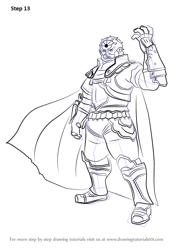 Step By Step How To Draw Ganondorf From Super Smash Bros