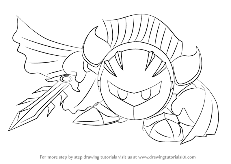 Step By Step How To Draw Meta Knight From Super Smash Bros DrawingTutorials101