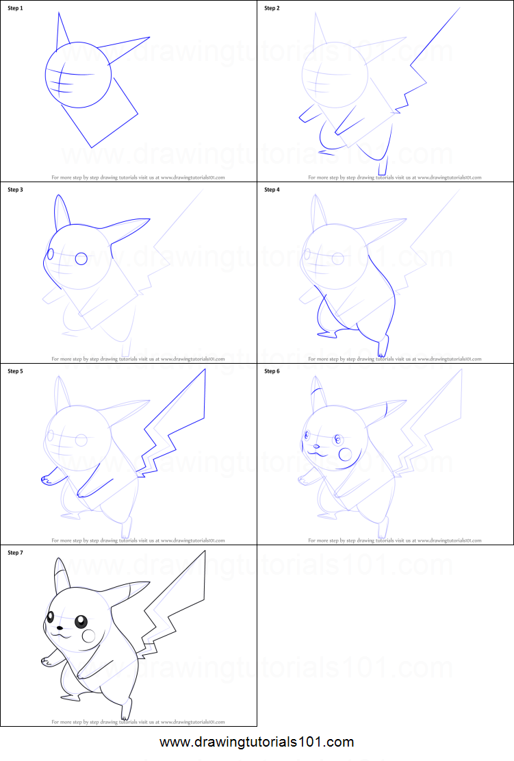 how to draw pikachu from super smash bros printable step by step drawing sheet drawingtutorials101com
