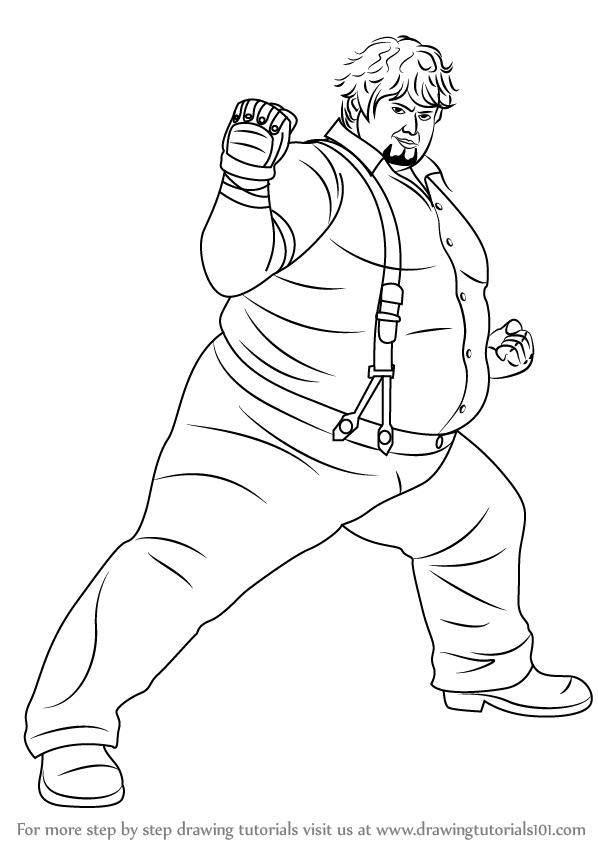 tekken coloring pages - learn how to draw bob richards from tekken tekken step