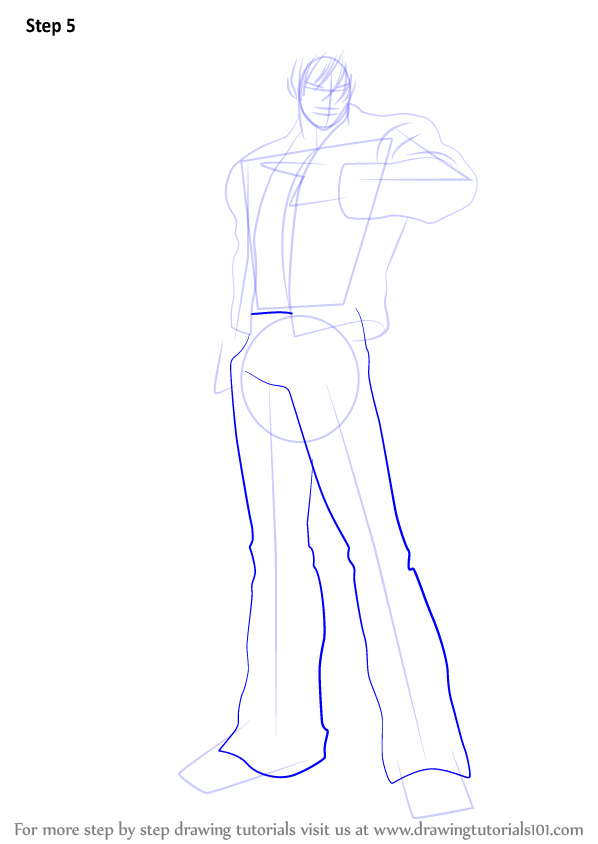 learn how to draw kyo kusanagi from the king of fighters  the king of fighters  step by step