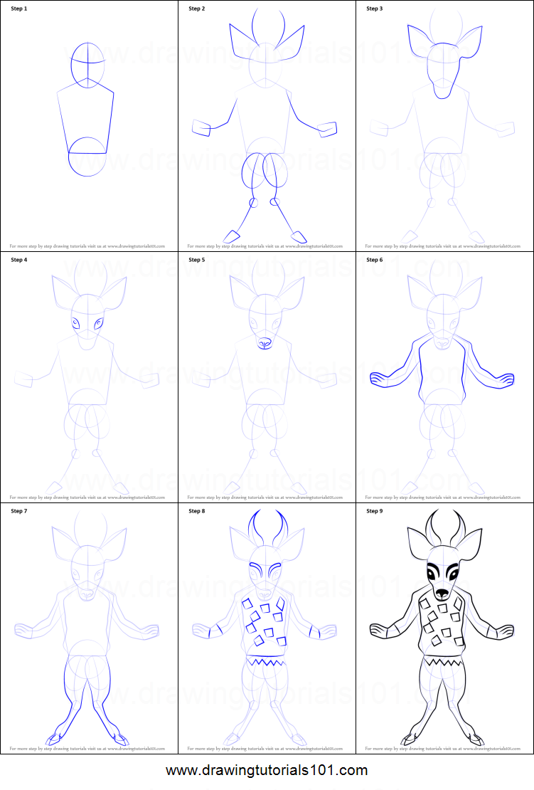 Step by step drawing tutorial on how to draw faun from undertale