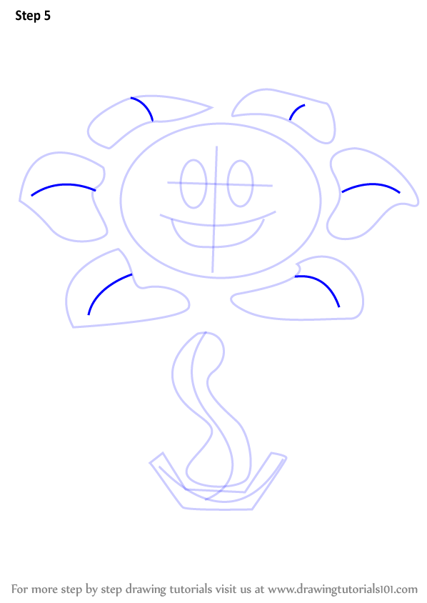 how to draw omega flowey step by step