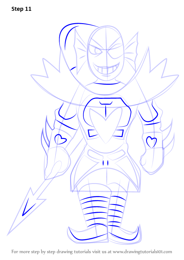 Step By Step How To Draw Undyne From Undertale