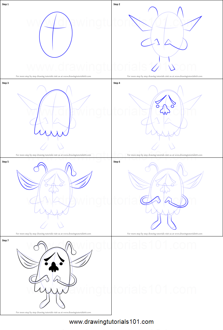 How To Draw Whimsun From Undertale Printable Step By Step