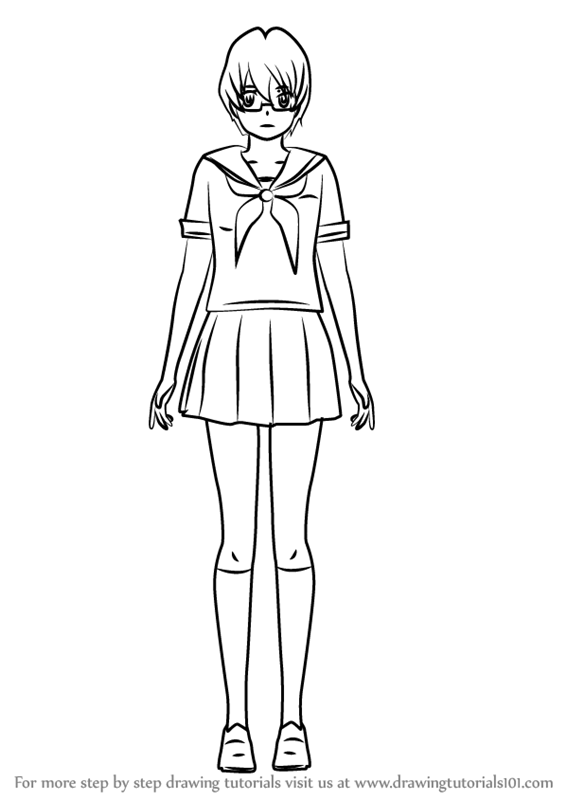 yandere simulator coloring pages learn how to draw info chan from yandere simulator