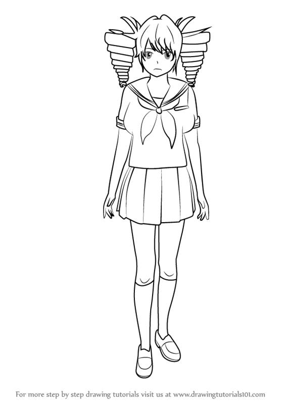 yandere simulator coloring pages step by step how to draw kokona haruka from yandere