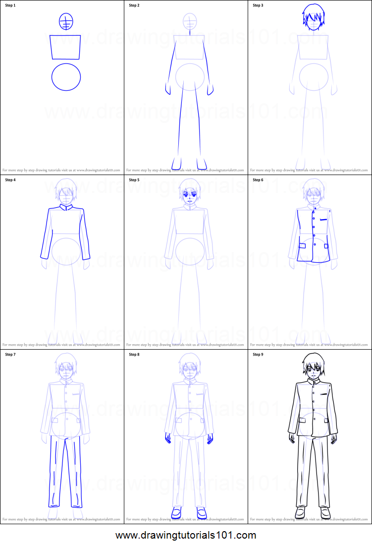 How To Draw Senpai From Yandere Simulator Printable Step