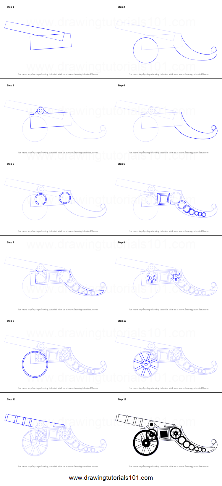 How To Draw A Vintage Cannon Printable Step By Step
