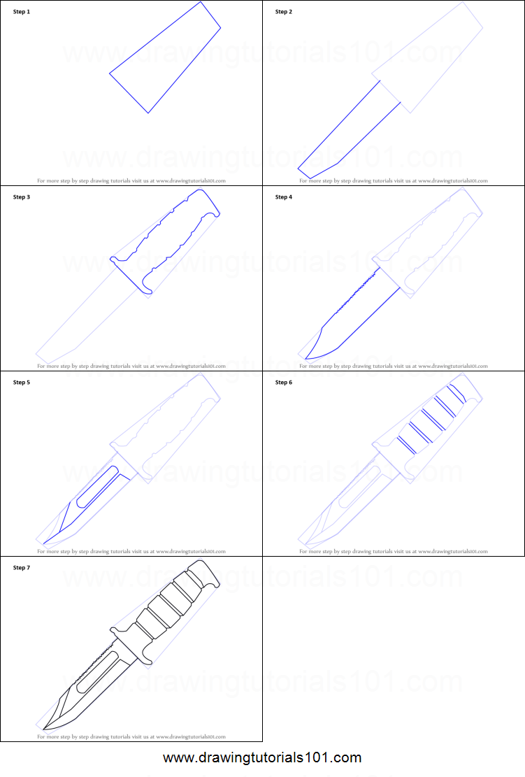 How to Draw a Hunting Knife printable step by step drawing ...