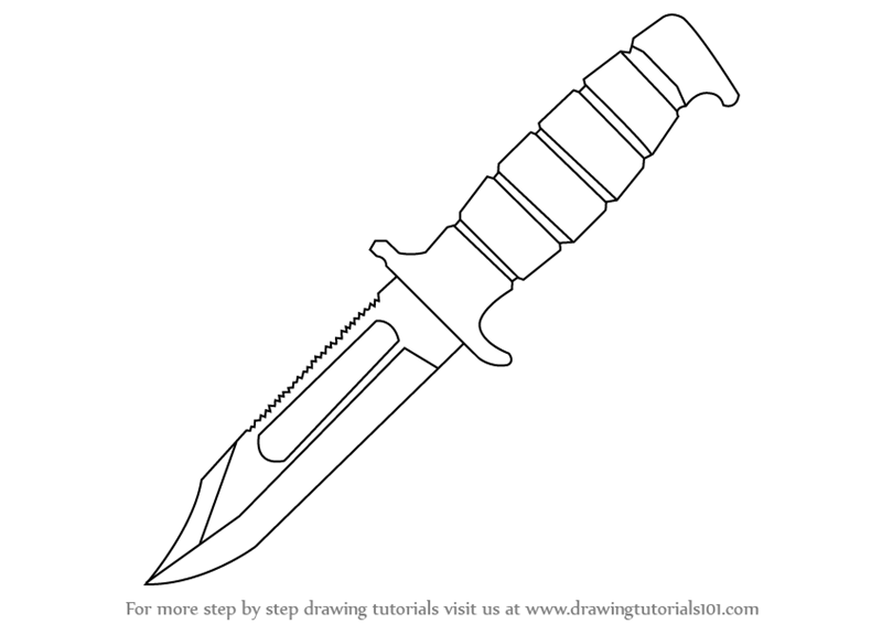 Step By Drawing Tutorial On How To Draw A Hunting Knife