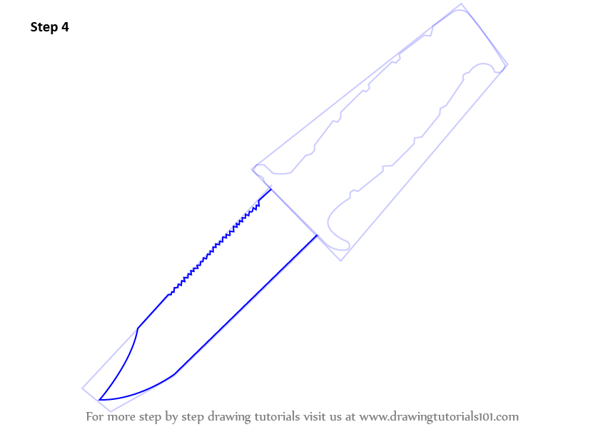 Learn How To Draw A Hunting Knife Knives Step By Step