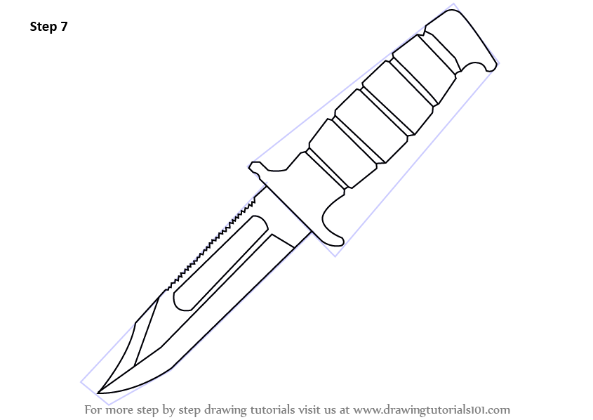 Learn How to Draw a Hunting Knife (Knives) Step by Step ...