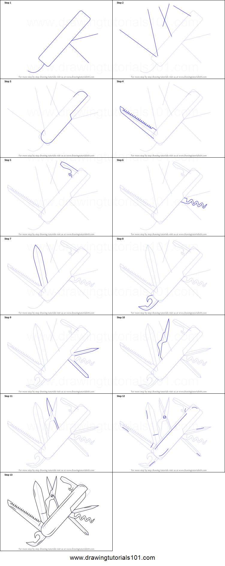 How To Draw Swiss Army Knife Printable Step By Step