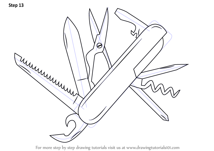 Learn How To Draw Swiss Army Knife Knives Step By Step