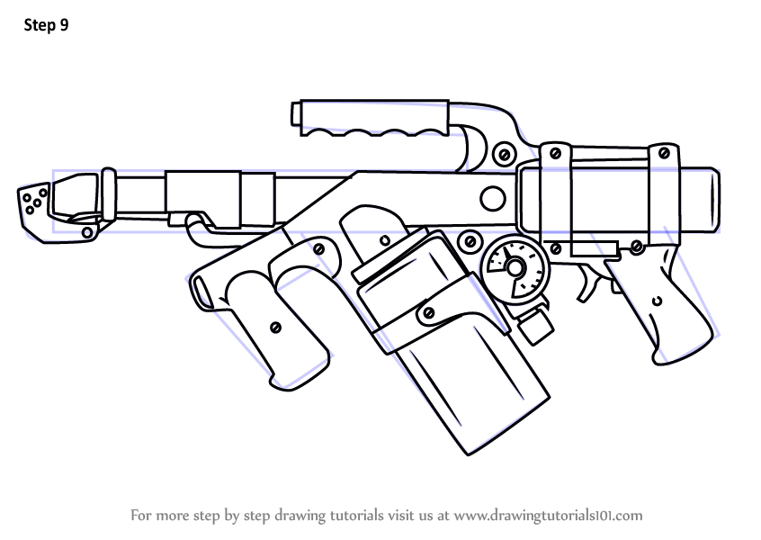 Step By Step How To Draw Flame Thrower
