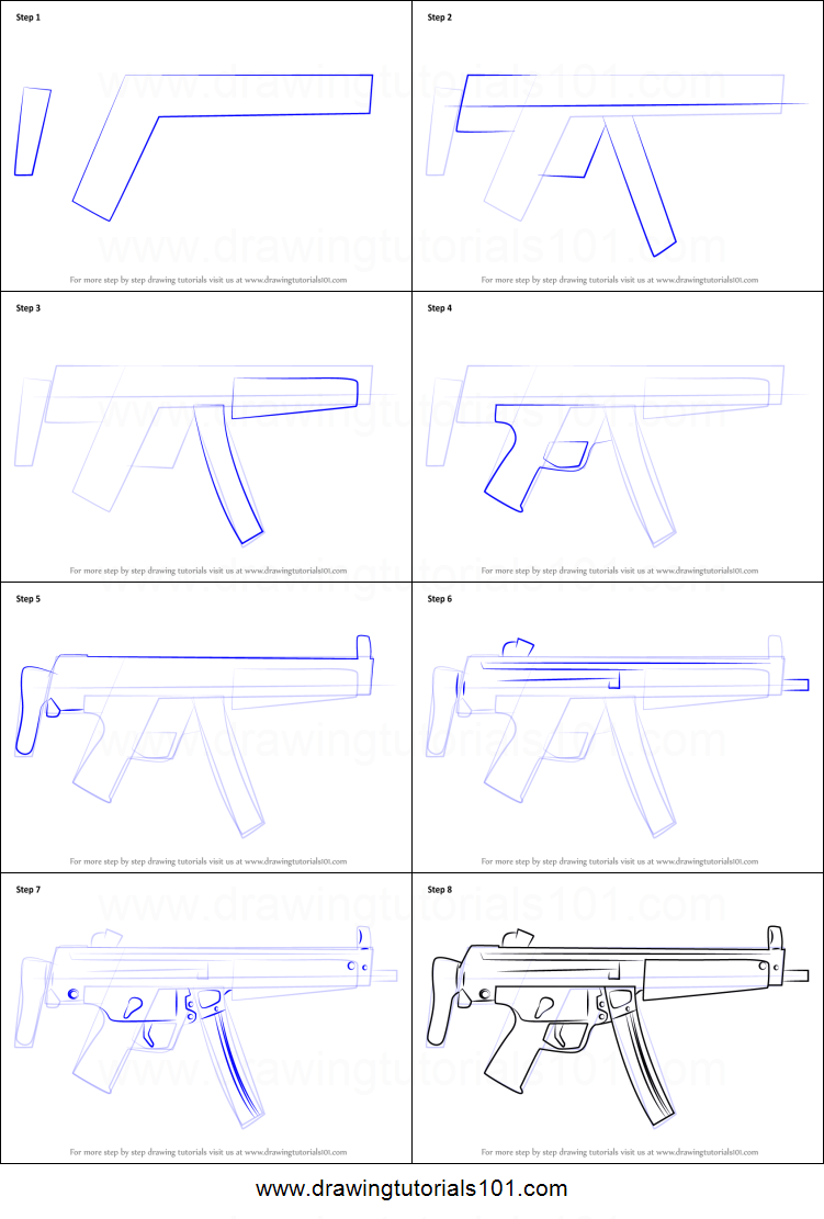 How to Draw MP5A3 Machine Gun printable step by step ...