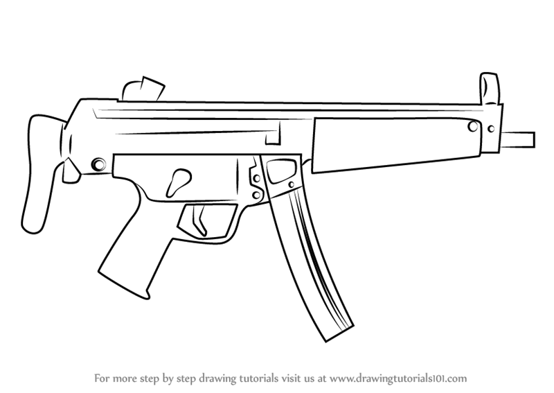Learn How to Draw MP5A3 Machine Gun (Other Weapons) Step ...