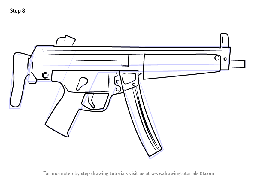 Learn How To Draw Mp5a3 Machine Gun Other Weapons Step