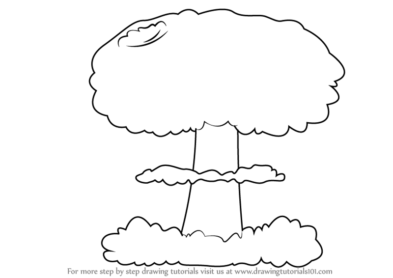 step by step how to draw a mushroom cloud