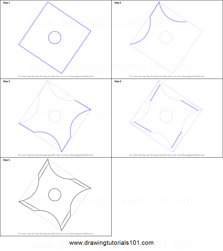 How To Draw A Shuriken Ninja Star Printable Step By Drawing Sheet DrawingTutorials101