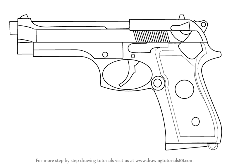 Pistool Kleurplaat Learn How To Draw A Beretta 92 Pistol Pistols Step By