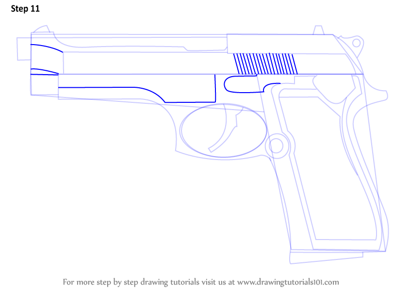 how to draw a 9mm pistol
