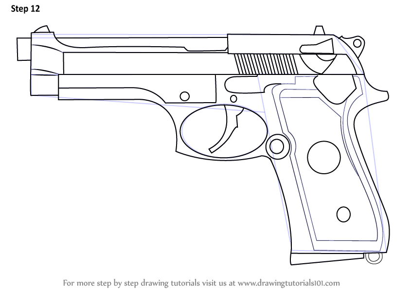 Learn How To Draw A Beretta 92 Pistol Pistols Step By