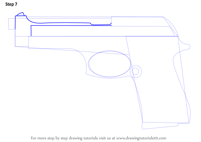 how to draw a pistol step by step on paper