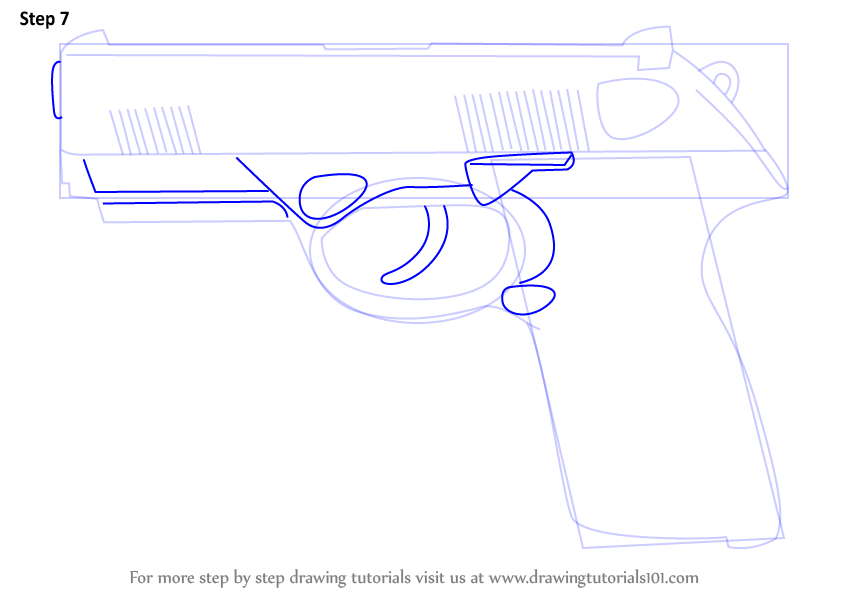 Learn How to Draw a Beretta PX4 (Pistols) Step by Step