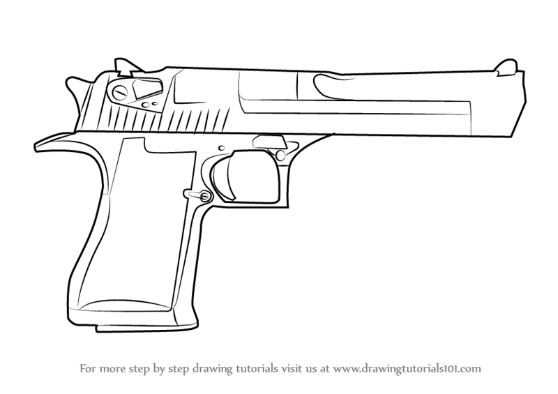 Learn How To Draw IMI Desert Eagle Pistols Step By
