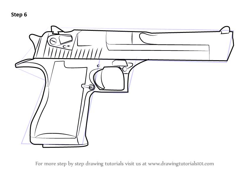 Learn How To Draw Imi Desert Eagle Pistols Step By Step