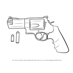 How to Draw Revolver with Bullets